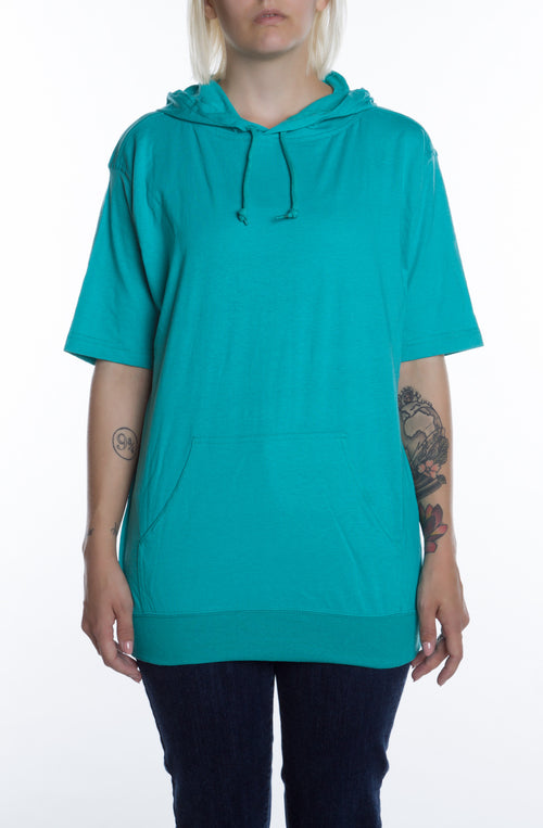 Women's S/S Beach Jersey Hoodie Teal - COTTONHOOD