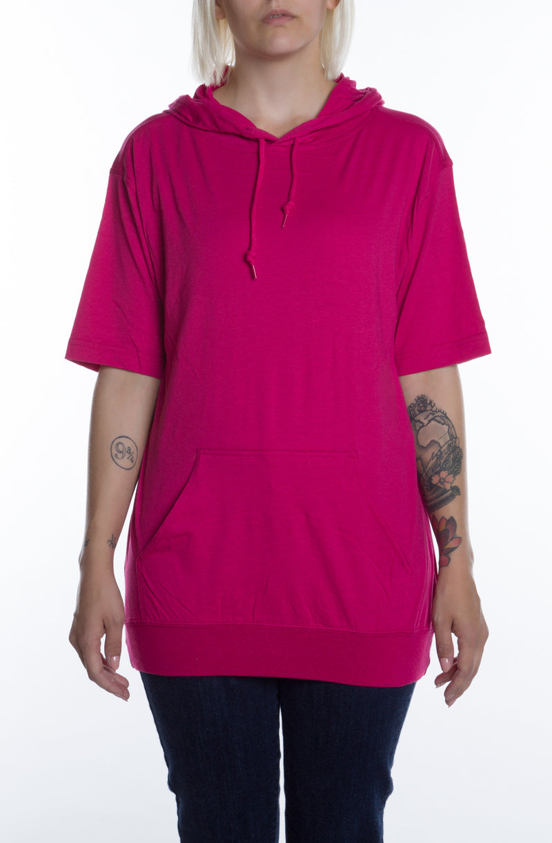 Women's S/S Beach Jersey Hoodie Fuchsia - COTTONHOOD