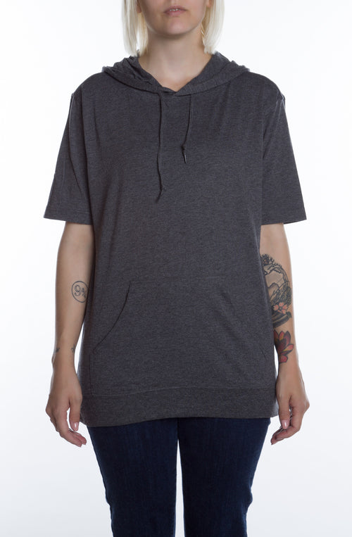 Women's S/S Beach Jersey Hoodie Charcoal Heather - COTTONHOOD
