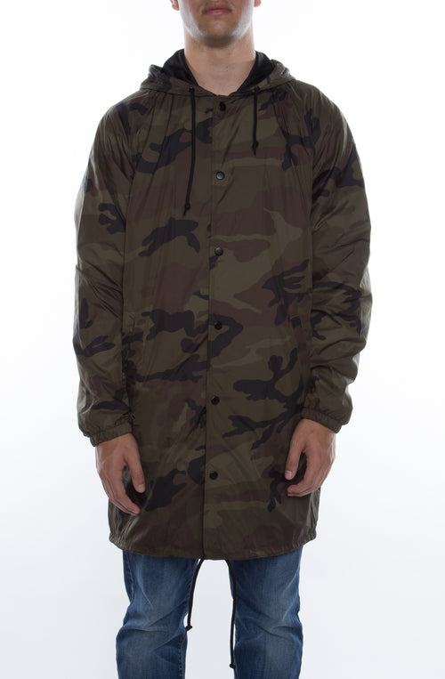 Coaches Trench Coat Jacket w/ Nylon Hoodie Camo