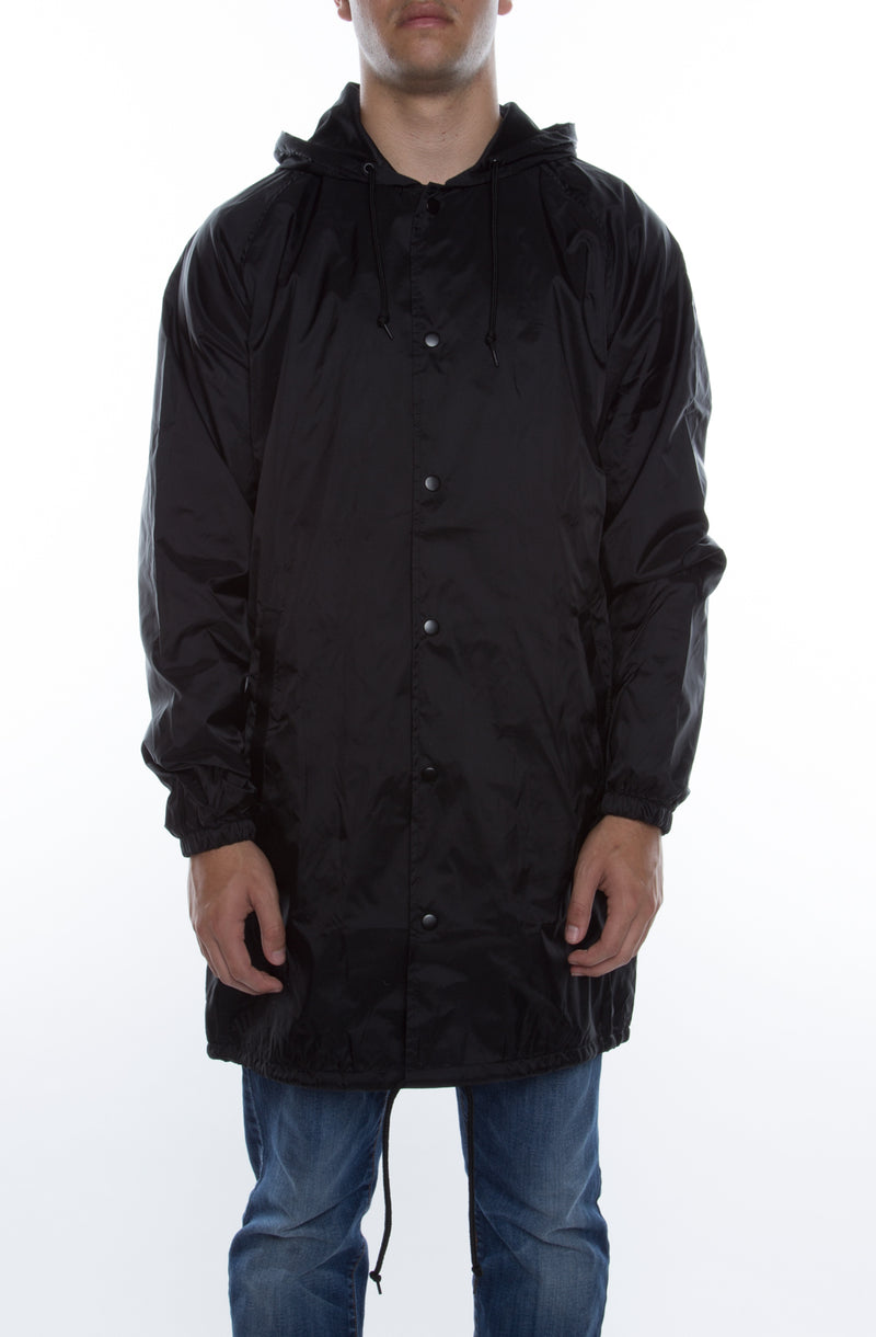 Coaches Trench Coat Jacket w/ Nylon Hoodie Black