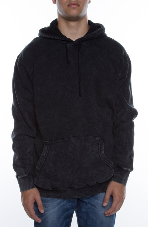 Men's Pigment Dyed Acid Washed Hoodie Black