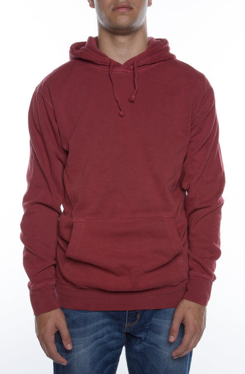 Pigment Dyed Hoodie Red - COTTONHOOD