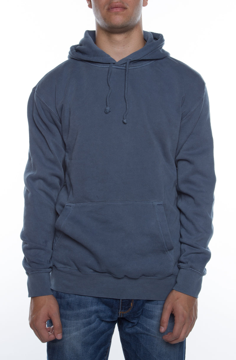Pigment Dyed Hoodie Blue - COTTONHOOD