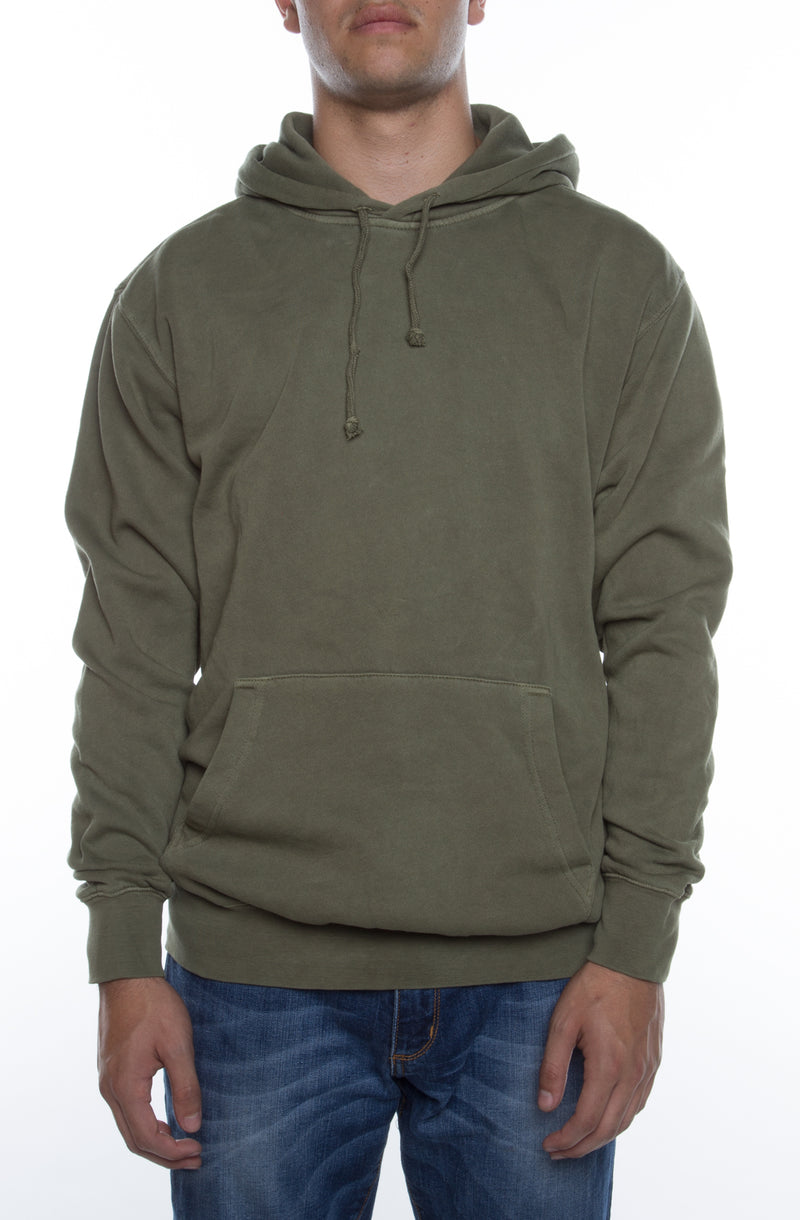 Pigment Dyed Hoodie Olive - COTTONHOOD