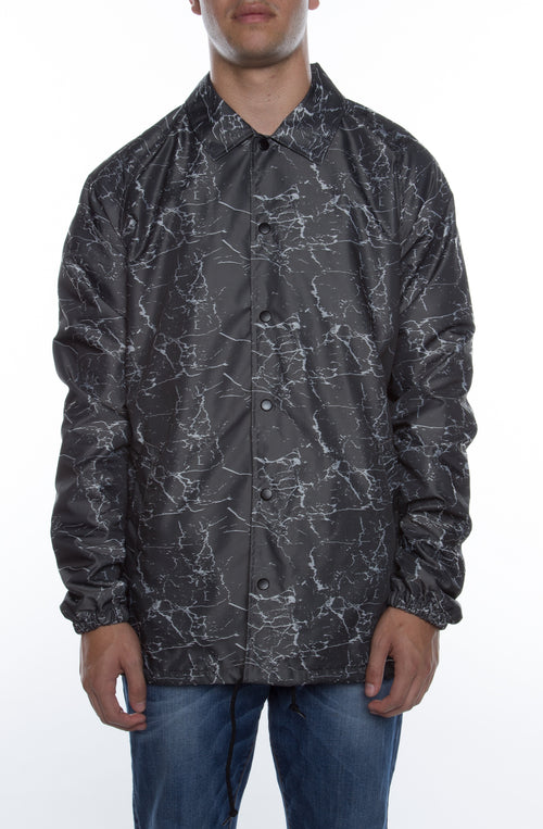 "Coaches Jacket Charcoal/White ""Stress Crackle"" - COTTONHOOD"