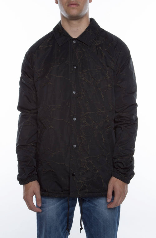 "Coaches Jacket Black/Olive ""Stress Crackle"" - COTTONHOOD"