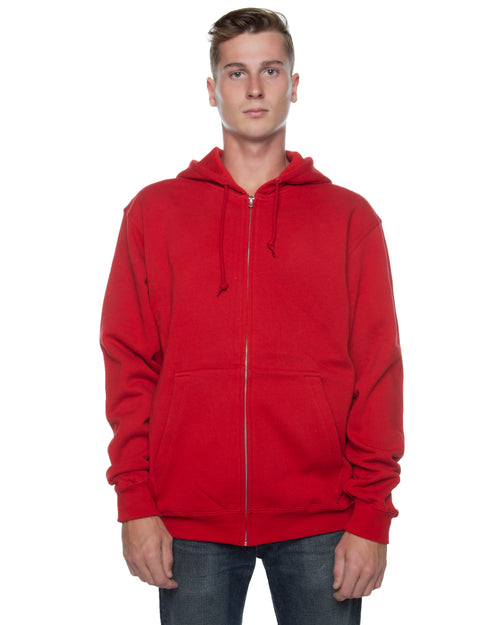 Men's Basic Zip Hoodie Red - COTTONHOOD