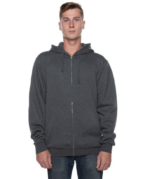 Men's Basic Zip Hoodie Charcoal Heather - COTTONHOOD