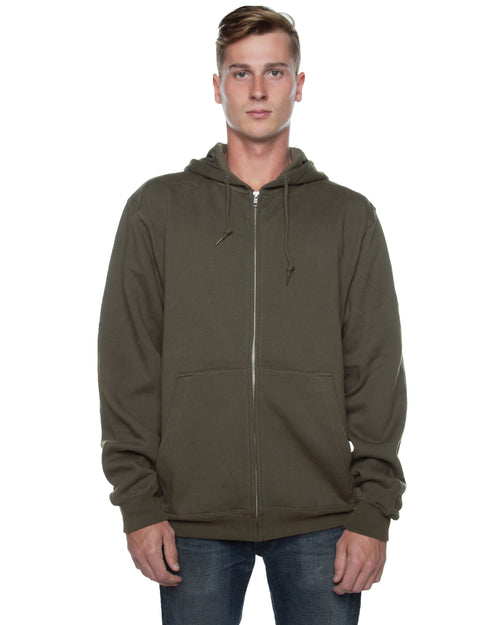 Men's Basic Zip Hoodie Olive - COTTONHOOD