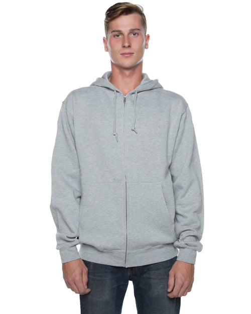 Men's Basic Zip Hoodie Heather Grey - COTTONHOOD