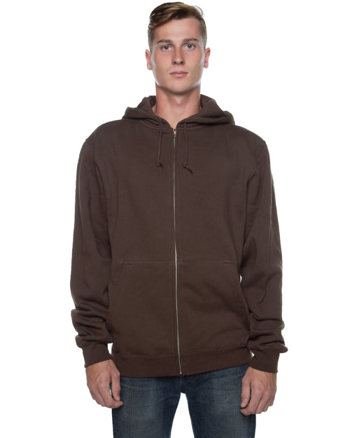 Men's Basic Zip Hoodie Brown - COTTONHOOD