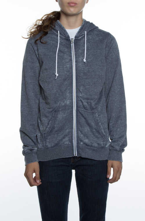 Women's Burnout Zip Hoodie Deep Navy - COTTONHOOD