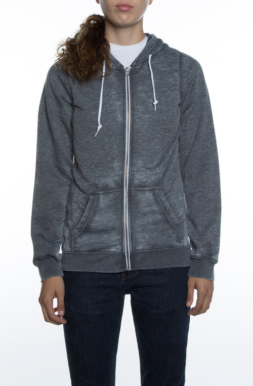 Women's Burnout Zip Hoodie Black - COTTONHOOD