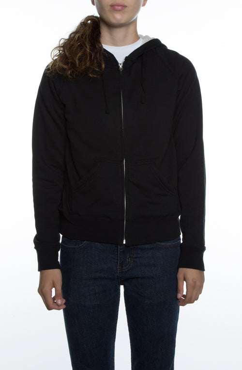 Women's Lightweight Sherpa Lined Hoodie Black/Natural - COTTONHOOD
