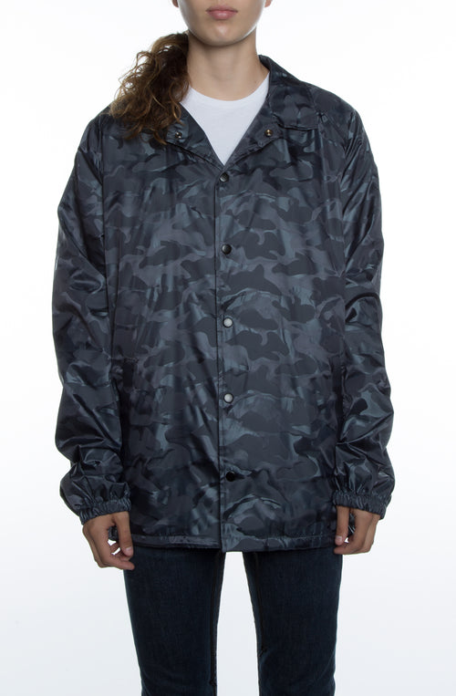 Women's 3D Camo Nylon Coaches Jacket Charcoal - COTTONHOOD