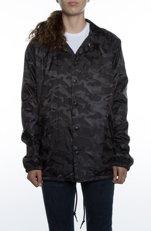 Women's 3D Camo Nylon Coaches Jacket Black