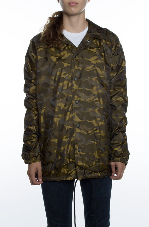 Women's 3D Camo Nylon Coaches Jacket New Gold - COTTONHOOD