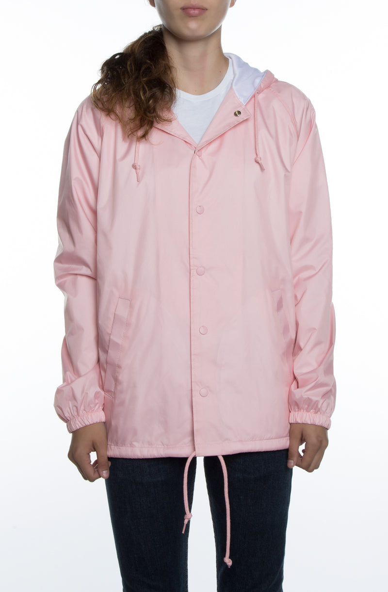 Women's Coaches Jacket w/ Nylon Hoodie Pink - COTTONHOOD