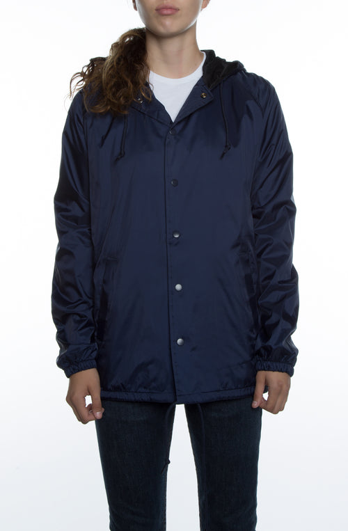 Women's Coaches Jacket w/ Nylon Hoodie Deep Navy - COTTONHOOD