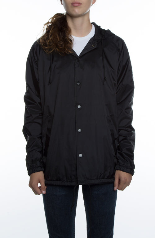 Women's Coaches Jacket w/ Nylon Hoodie Black - COTTONHOOD