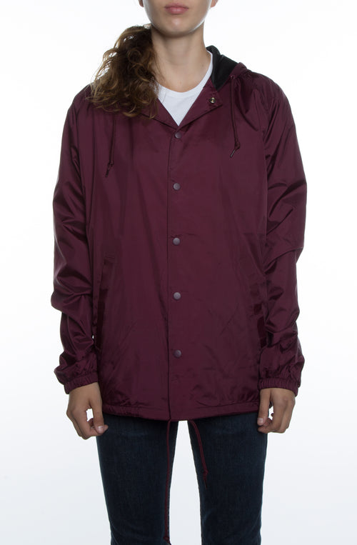 Women's Coaches Jacket w/ Nylon Hoodie Maroon - COTTONHOOD