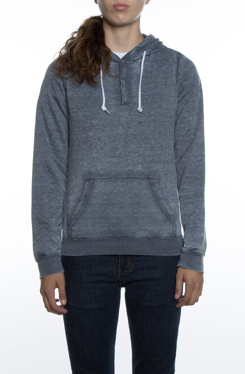 Women's Burnout Henley Hoodie Deep Navy - COTTONHOOD