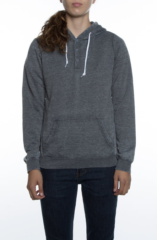 Women's Burnout Henley Hoodie Black - COTTONHOOD
