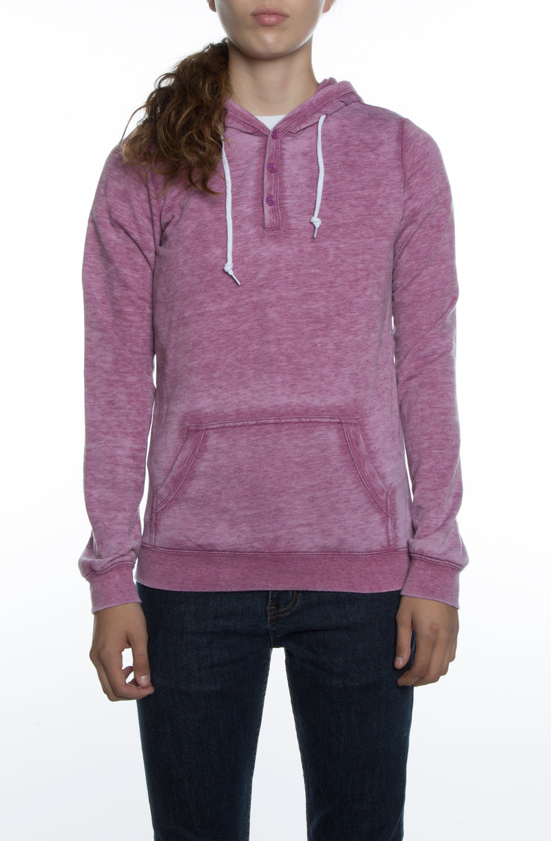 Women's Burnout Henley Hoodie Pink - COTTONHOOD