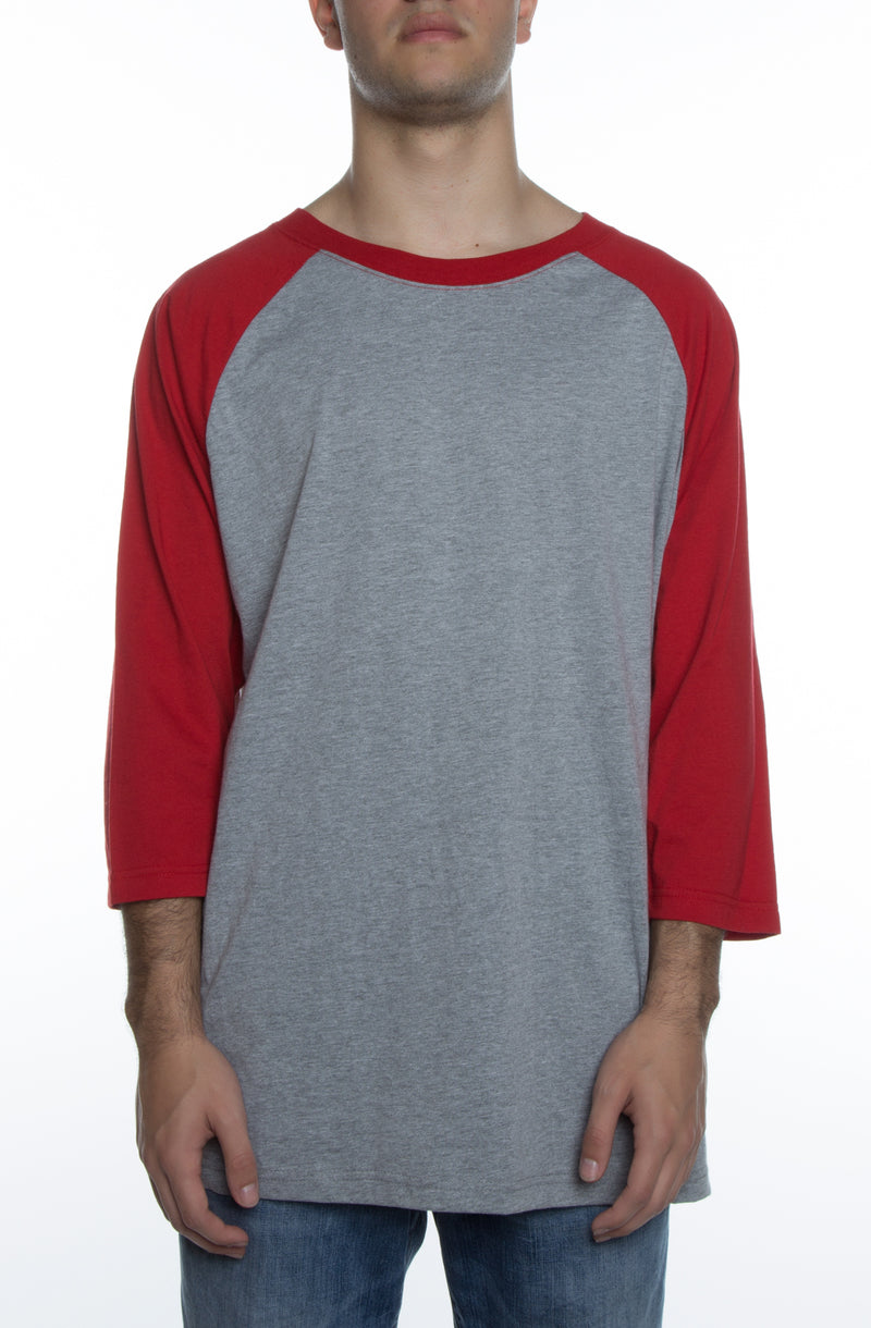 Unisex 3/4 Sleeve Baseball Tee Heather Grey/Scarlet - COTTONHOOD