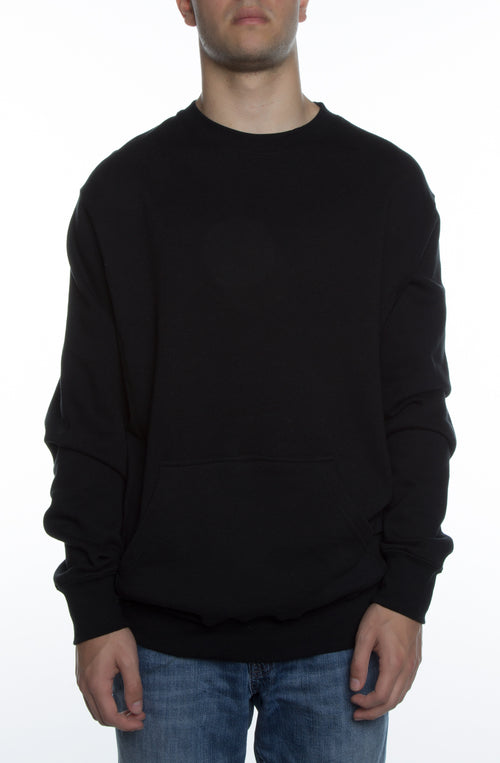 Men's Basic Crew Fleece w/ Pouch Pocket Black - COTTONHOOD