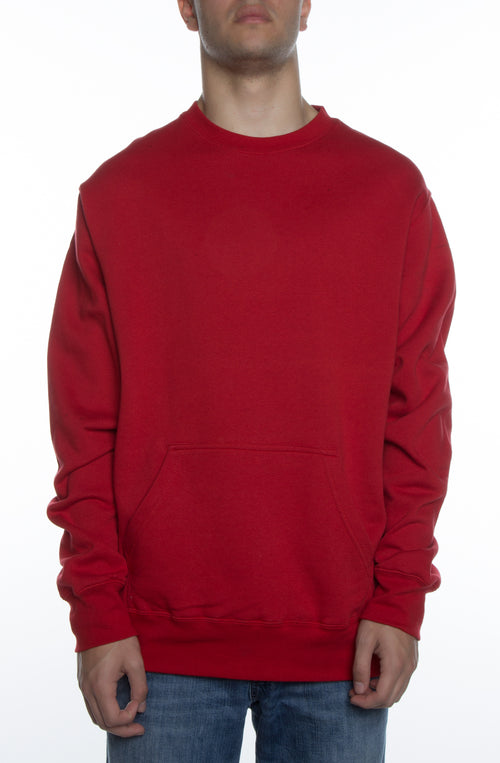Men's Basic Crew Fleece w/ Pouch Pocket Scarlet - COTTONHOOD