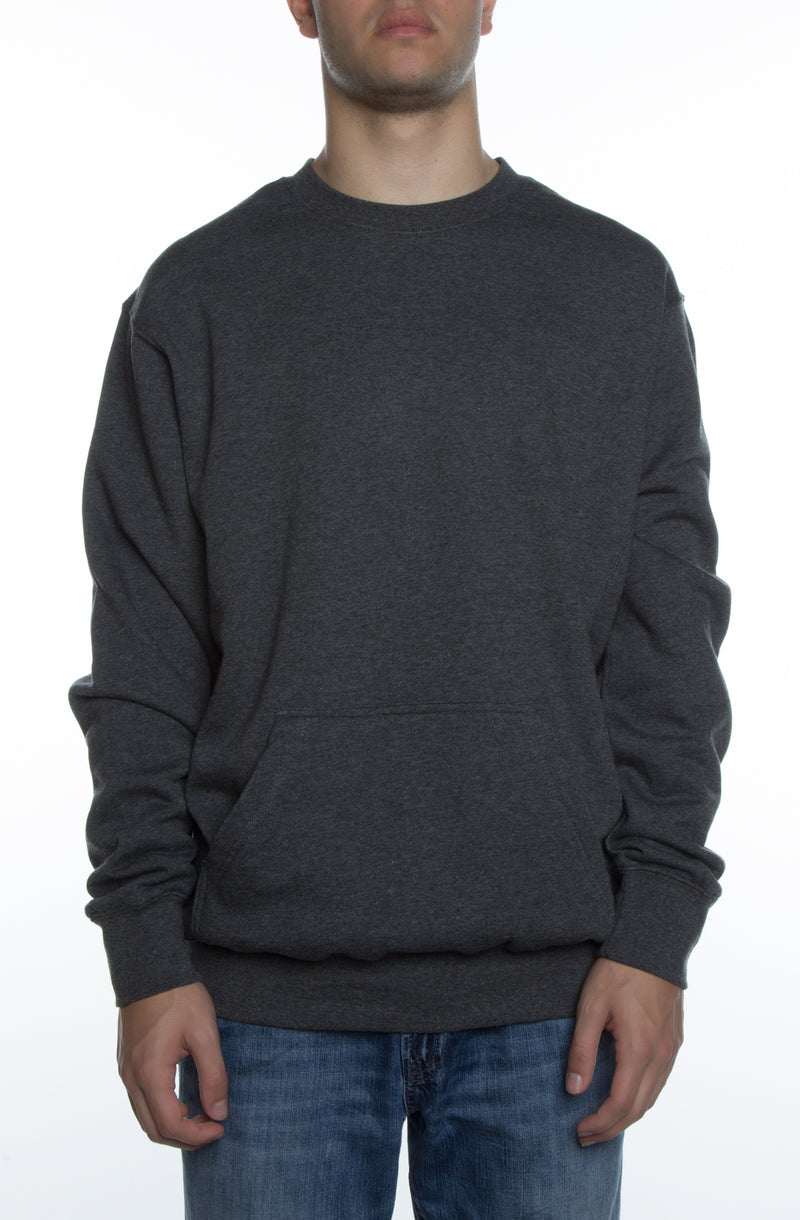 Men's Basic Crew Fleece w/ Pouch Pocket Charcoal
