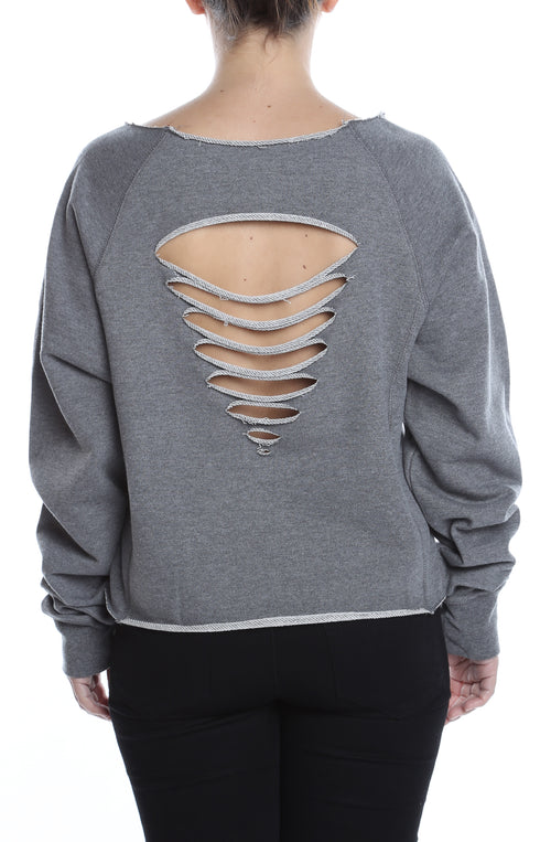 Women's Distressed Crew Neck GunMetal Heather