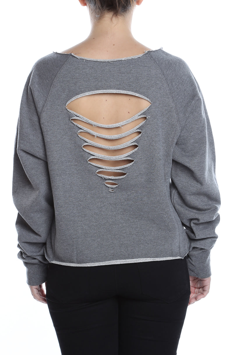 Women's Distressed Crewneck GunMetal Heather - COTTONHOOD