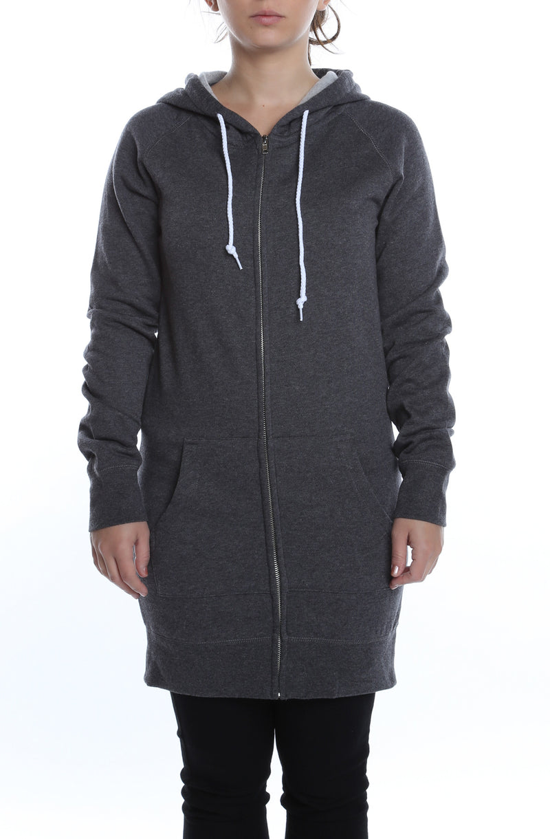 Misses Zip Dress Hoodie Charcoal Heather - COTTONHOOD