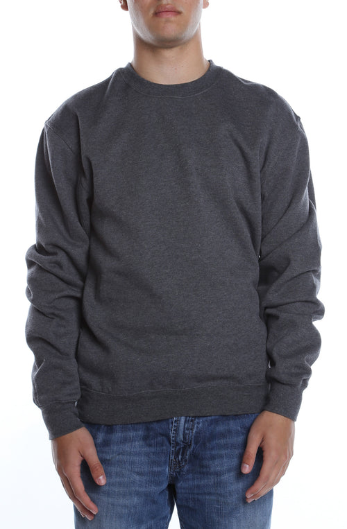 Men's Basic Crew Fleece Charcoal Heather - COTTONHOOD
