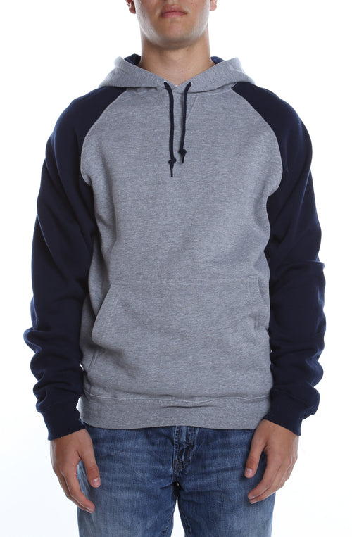 Contrast Raglan Hoodie Heather Grey/Navy