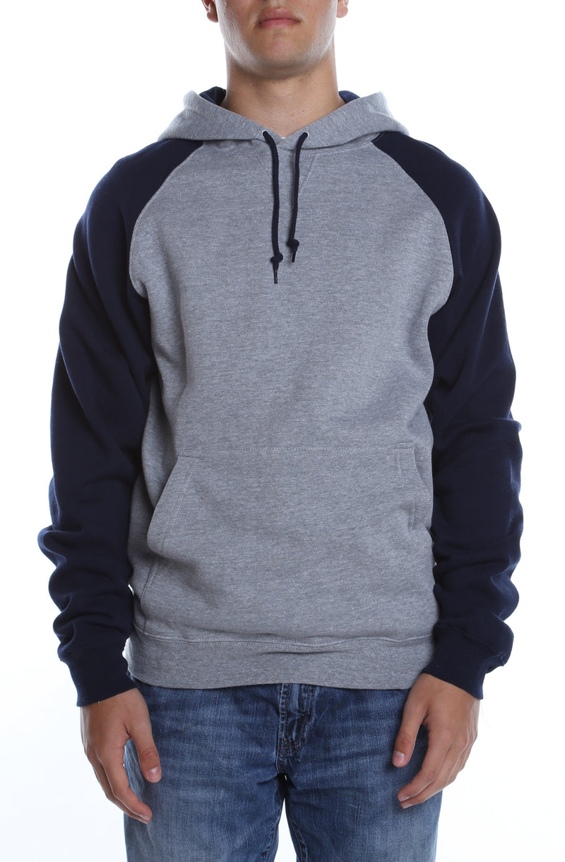Contrast Raglan Hoodie Heather Grey/Navy - COTTONHOOD