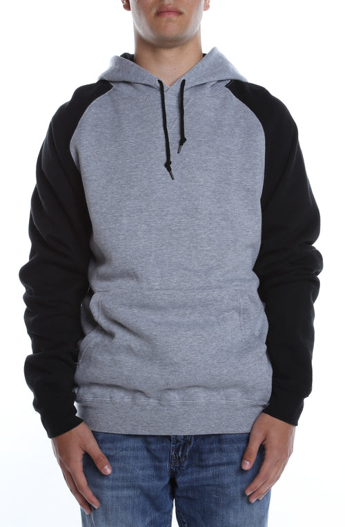 Contrast Raglan Hoodie Heather Grey/Black - COTTONHOOD