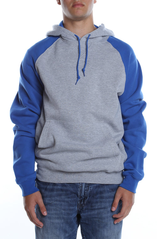 Contrast Raglan Hoodie Heather Grey/Royal - COTTONHOOD