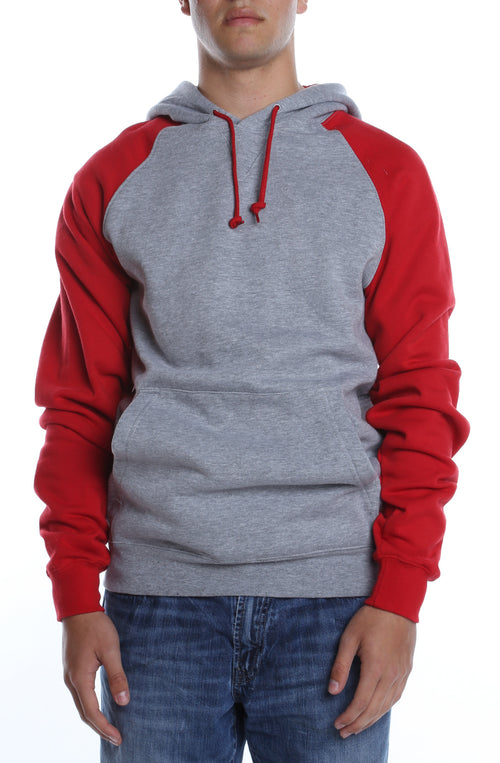 Contrast Raglan Hoodie Heather Grey/Scarlet - COTTONHOOD
