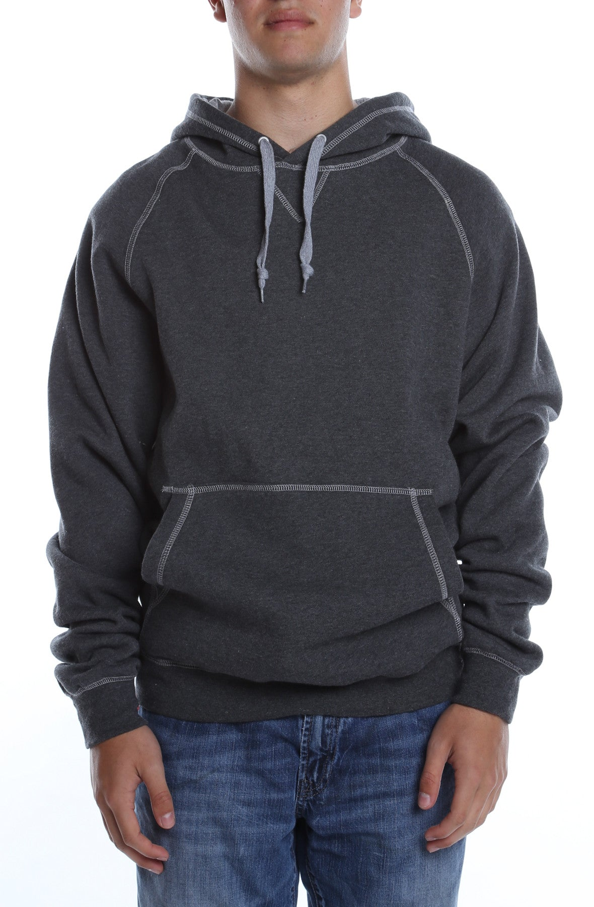 Contrast Stitched Hoodie Charcoal Heather Grey – COTTONHOOD d6ee430e4