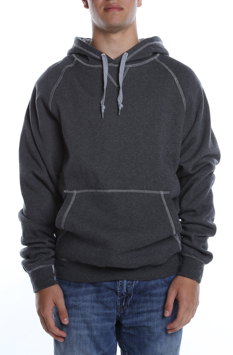 Contrast Stitched Hoodie Charcoal/Heather Grey - COTTONHOOD