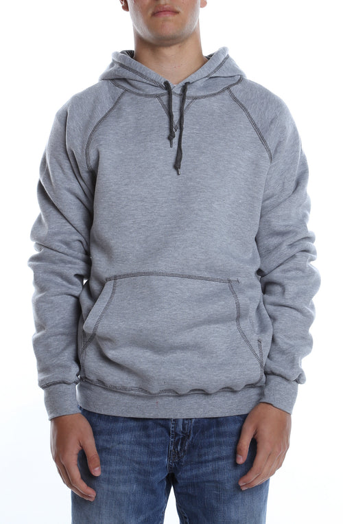 Contrast Stitched Hoodie Heather Grey/Charcoal - COTTONHOOD