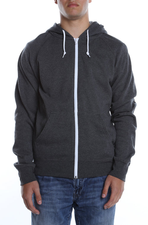 Contrast Zip Hoodie Charcoal Heather/White - COTTONHOOD