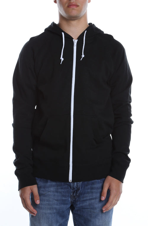 Contrast Zip Hoodie Black/White - COTTONHOOD