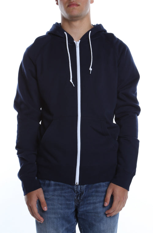 Contrast Zip Hoodie Deep Navy/White - COTTONHOOD