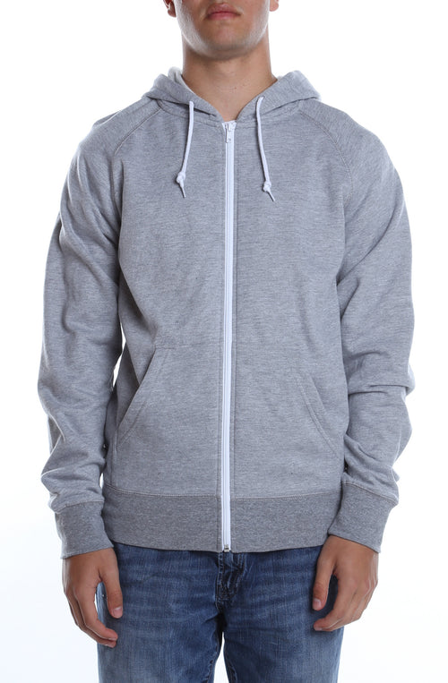 Contrast Zip Hoodie Heather Grey/White