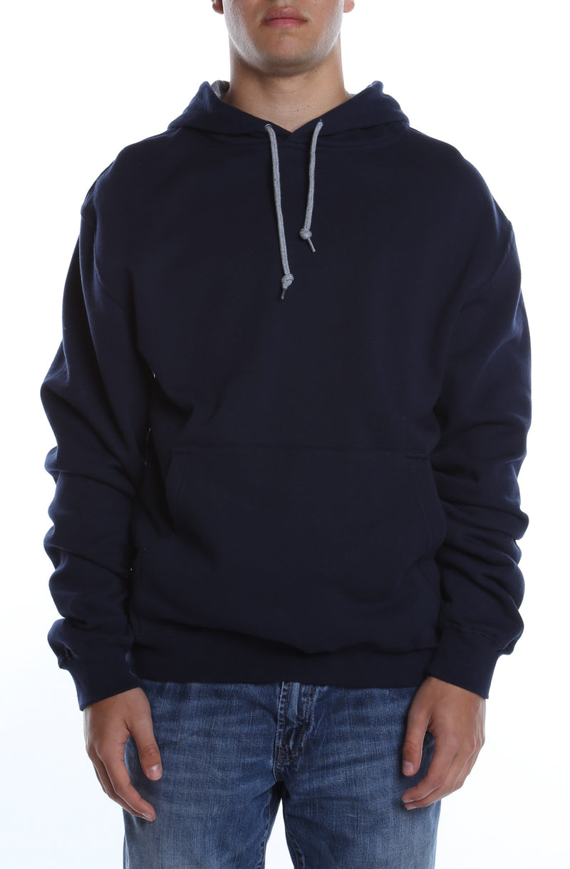 Collegiate Contrast Hoodie Deep Navy/Heather Grey - COTTONHOOD
